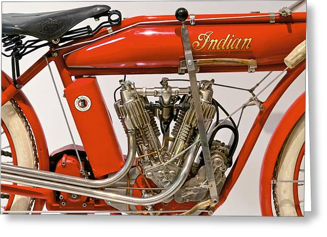 Bike - Motorcycle - Indian Motorcycle engine Greeting Card by Mike Savad