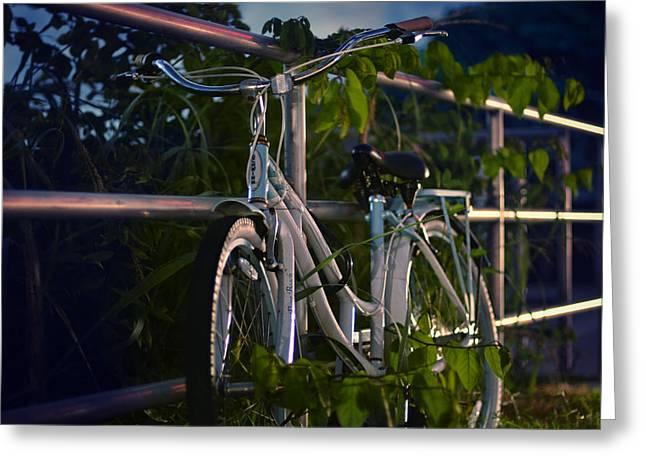 Beach Cruiser Greeting Cards - Bike Noir Greeting Card by Laura  Fasulo