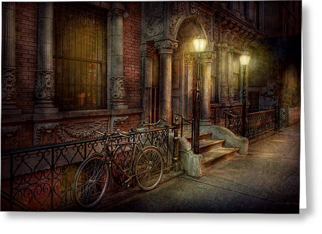 Bike - NY - Greenwich Village - In the village  Greeting Card by Mike Savad