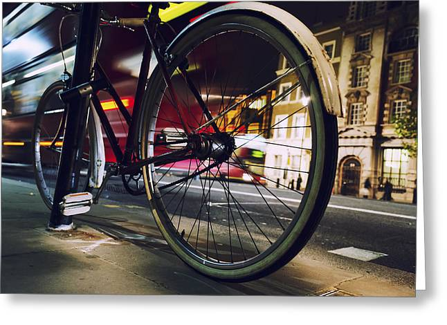 Bicycling Greeting Cards - Bike on Whitehall Street Greeting Card by Joseph S Giacalone