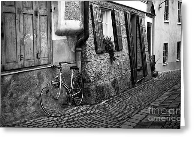 Art In Salzburg Greeting Cards - Bike Parking in Salzburg Greeting Card by John Rizzuto