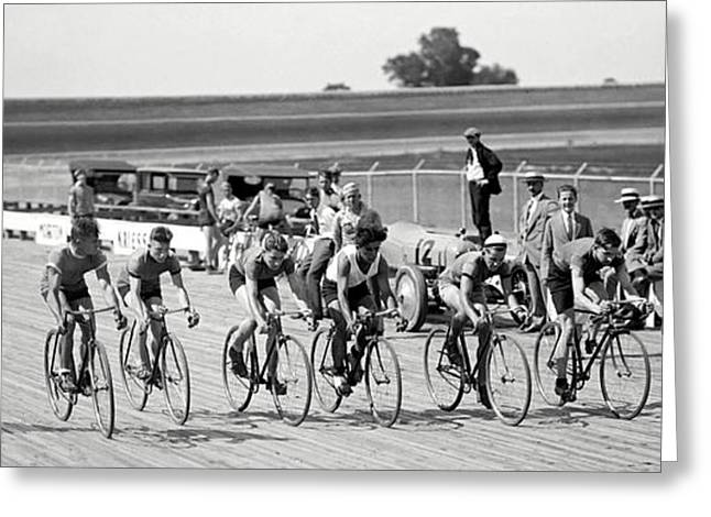 Vintage Bicycle Greeting Cards - Bike Race Start Line 1925 Greeting Card by Daniel Hagerman