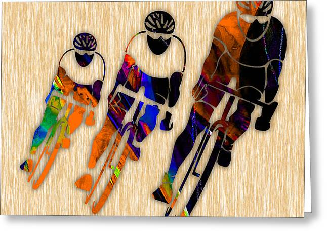 Bicycle Racing Greeting Cards - Bike Racing Greeting Card by Marvin Blaine