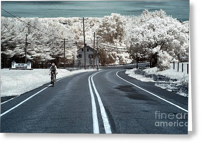 Mt. Airy Greeting Cards - Bike Ride infrared Greeting Card by John Rizzuto