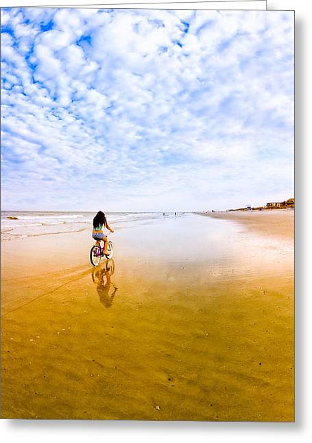 Ladies Bike Greeting Cards - Bike Ride on the Beach at Tybee Island Greeting Card by Mark Tisdale