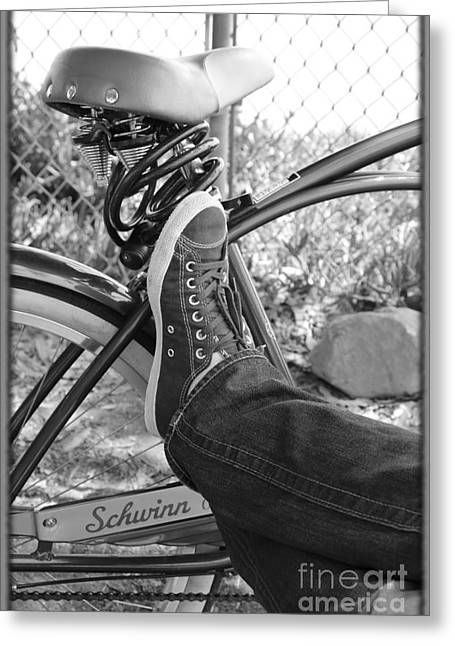 White Sneakers Greeting Cards - Bike Ride Greeting Card by Sophie Vigneault
