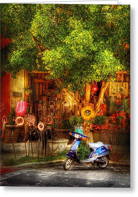 Bike - Scooter - Sitting Amongst Urban Flowers Greeting Card by Mike Savad