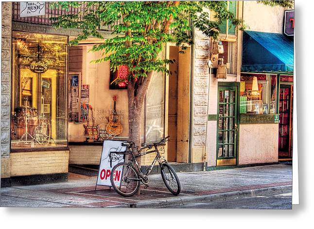 Music Store Greeting Cards - Bike - The Music Store Greeting Card by Mike Savad