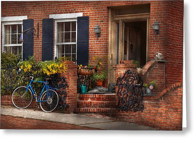 Bike - Waiting For A Ride Greeting Card by Mike Savad