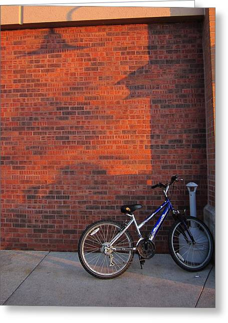 Guy Ricketts Photography Greeting Cards - Bike Waits for Owner Greeting Card by Guy Ricketts