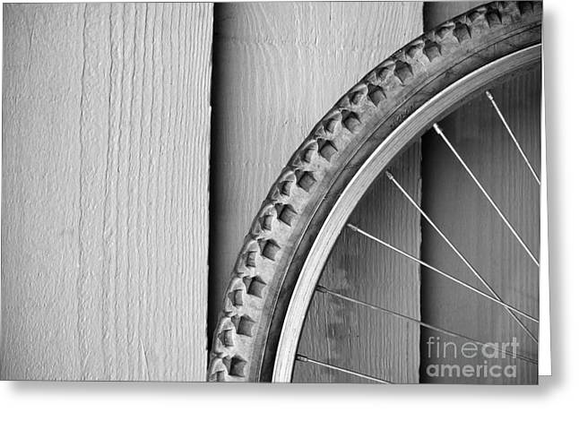 Bike Wheel Black and White Greeting Card by Tim Hester