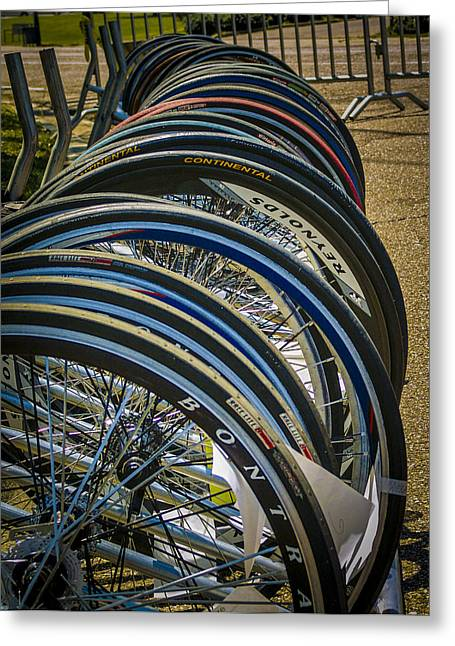 Whee Greeting Cards - Bike Wheels Greeting Card by Jon Stephenson
