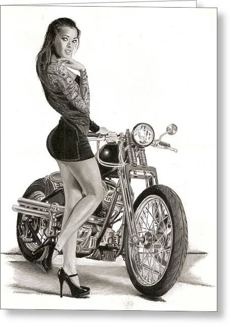 Babe Pastels Greeting Cards - Biker Babe Greeting Card by Dreamer- Paul D