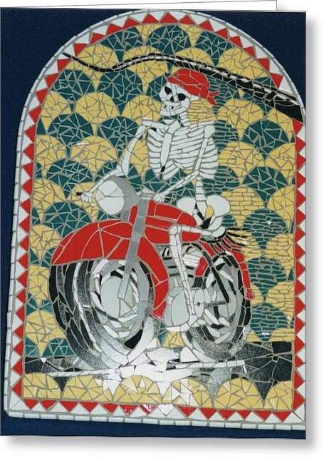 Transportation Ceramics Greeting Cards - Biker Dude Greeting Card by Pj Flagg Tongue in Chic