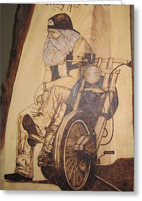 Motorcycles Pyrography Greeting Cards - Bikers Dont Get Old Greeting Card by Cindy Jo Burleson