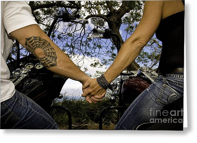 Personal Land Vehicle Greeting Cards - Bikers in love Greeting Card by Luna Lliro