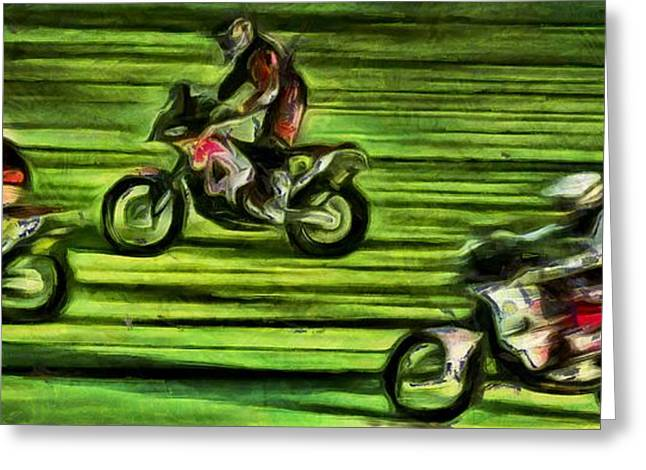Rally Greeting Cards - Bikers on a green road Greeting Card by Magomed Magomedagaev