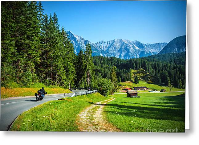 Scenic Drive Greeting Cards - Bikers on mountainous road Greeting Card by Anna Omelchenko