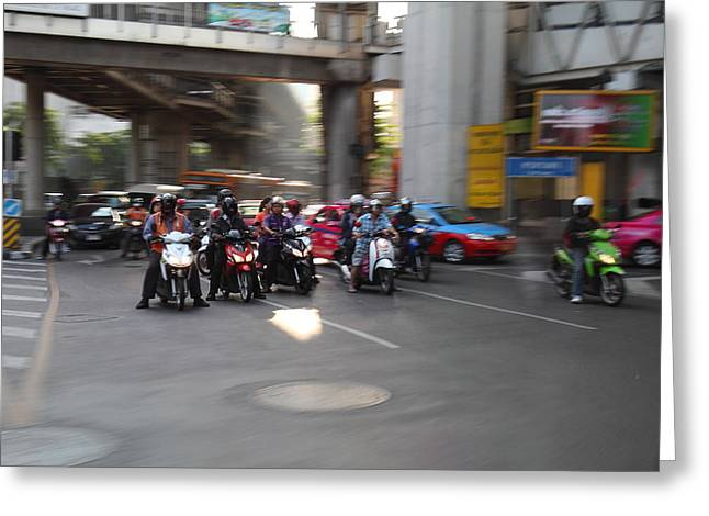 Motorcycles Photographs Greeting Cards - Bikes - Bangkok Thailand - 01132 Greeting Card by DC Photographer