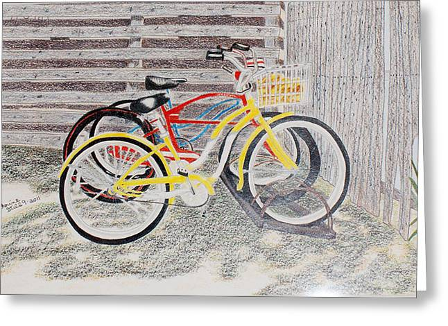 Stood Pyrography Greeting Cards - Bikes Greeting Card by Cathy Still