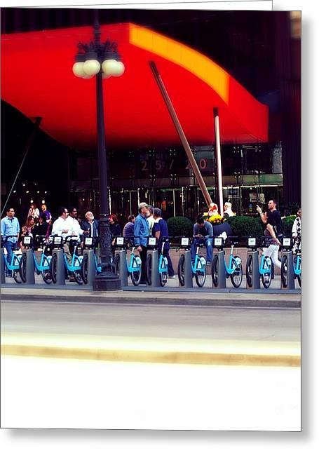 Magnificent Mile Greeting Cards - Bikes Chicago Greeting Card by Frank J Casella