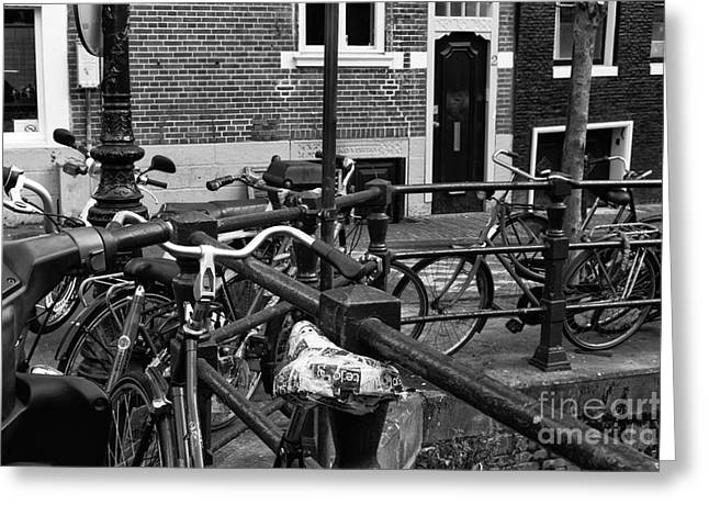 Hanging Out Greeting Cards - Bikes Hanging Out mono Greeting Card by John Rizzuto