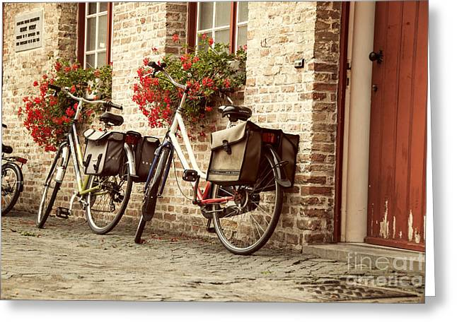 Bikes In The School Yard Greeting Card by Juli Scalzi