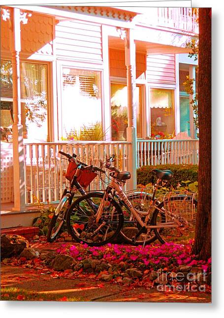 Michigan Farmhouse Greeting Cards - Bikes in the Yard Greeting Card by Desiree Paquette