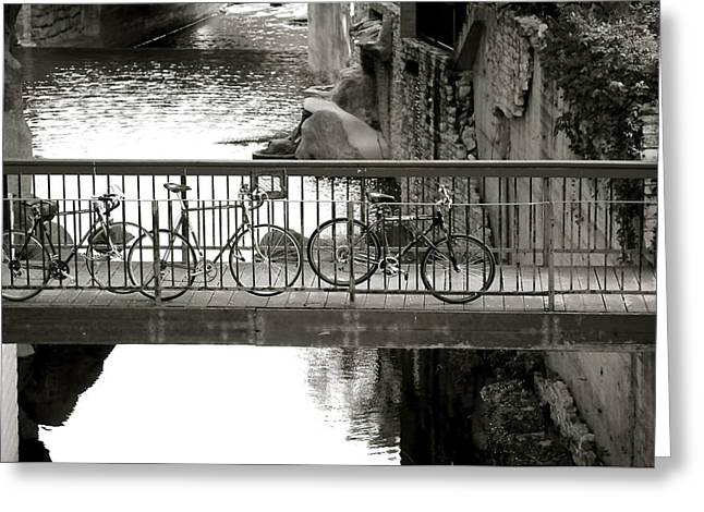 Bi-cycle Greeting Cards - Bikes over Waller Creek Greeting Card by Kristina Deane