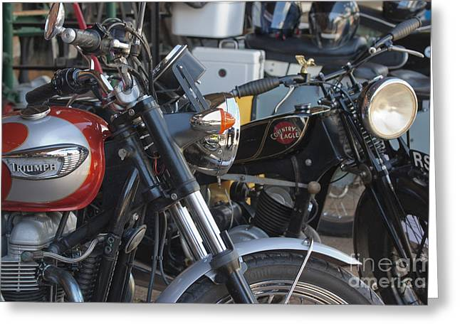Mudguard Greeting Cards - Old Motorbikes Greeting Card by Terri  Waters