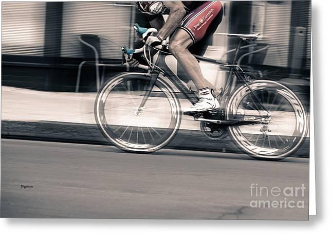 Sports Digital Art Greeting Cards - Biking by Speed  Greeting Card by Steven  Digman