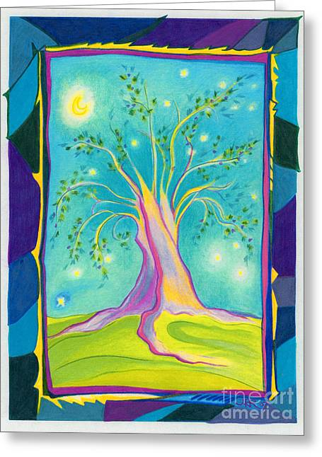 Mystic Art Greeting Cards - Bilabo Tree  Greeting Card by First Star Art