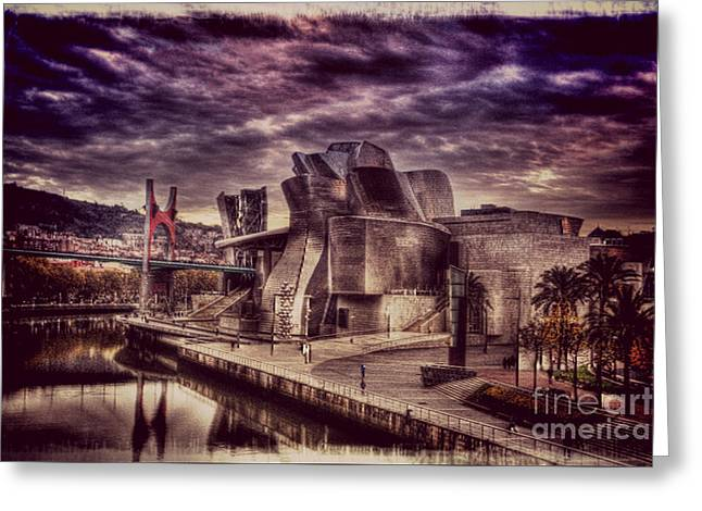 Street Pyrography Greeting Cards - The Guggenheim Museum Bilbao Greeting Card by Miryam  UrZa