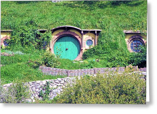 Bagend Greeting Cards - Bilbo Baggins Front Door Greeting Card by C H Apperson