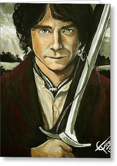 Lord Of The Rings Greeting Cards - Bilbo Baggins Greeting Card by Tom Carlton