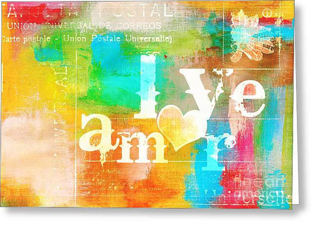 Romance Mixed Media Greeting Cards - Bilingual - Amor Love Universal Greeting Card by aDsPICE sTUDIOS