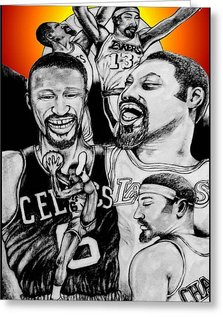 Lakers Drawings Greeting Cards - Bill And Wilt Greeting Card by Vernon Rowlette