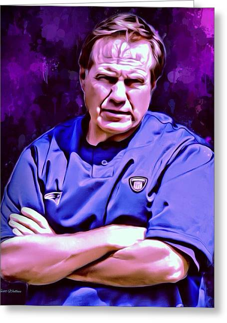 William Wells Brown Greeting Cards - Bill Belichick Portrait Greeting Card by Scott Wallace