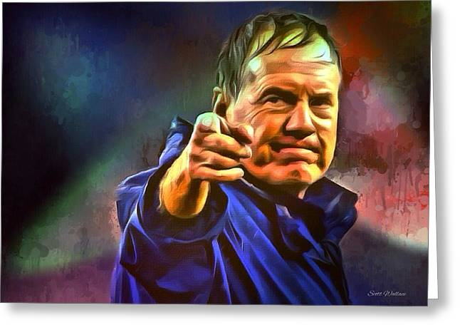 Coach Greeting Cards - Bill Belichick Greeting Card by Scott Wallace