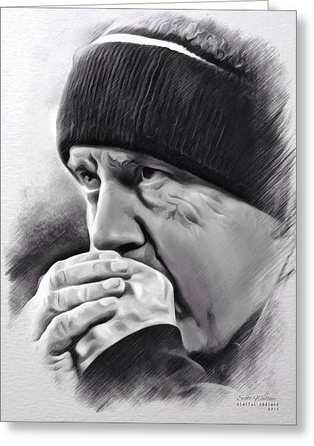 William Wells Brown Greeting Cards - Bill Belichick Sketch Greeting Card by Scott Wallace