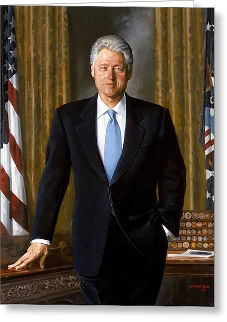 Bill Clinton Portrait Greeting Card by Tilen Hrovatic
