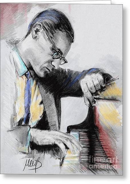 Jazz Pianist Greeting Cards - Evans Bill Greeting Card by Melanie D