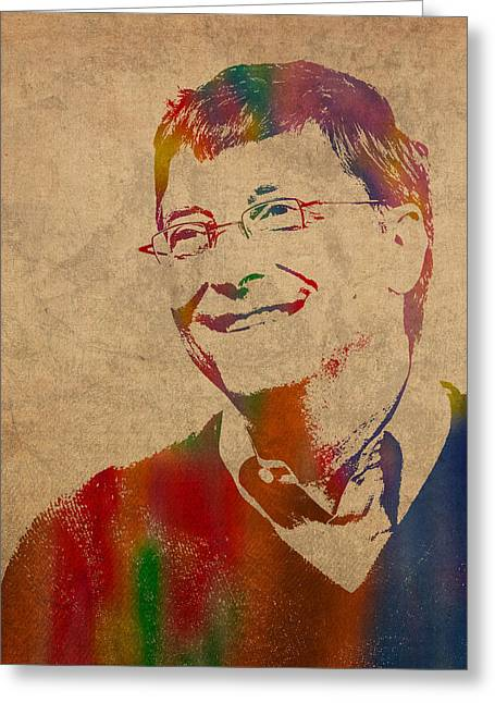 Microsoft. Greeting Cards - Bill Gates Microsoft CEO Watercolor Portrait On Worn Distressed Canvas Greeting Card by Design Turnpike