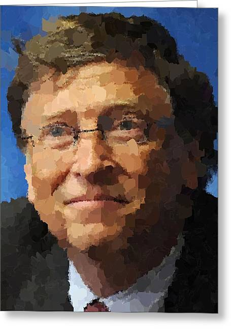 Microsoft. Paintings Greeting Cards - Bill Gates Portrait Greeting Card by Samuel Majcen