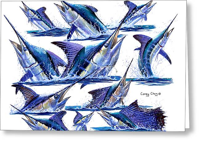 Reef Fish Greeting Cards - Bill Heads Greeting Card by Carey Chen