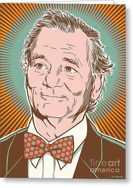 Illustration Greeting Cards - Bill Murray Pop Art Greeting Card by Jim Zahniser