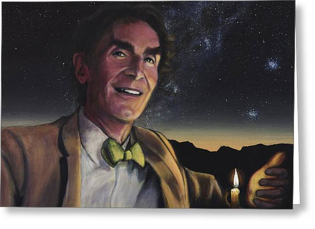 Cosmos Paintings Greeting Cards - Bill Nye - A Candle in the Dark Greeting Card by Simon Kregar