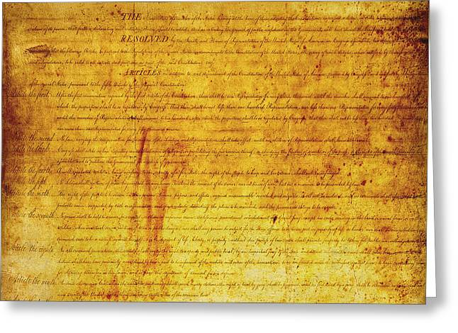 Tyrannies Greeting Cards - Bill of RIGHTS Greeting Card by Daniel Hagerman