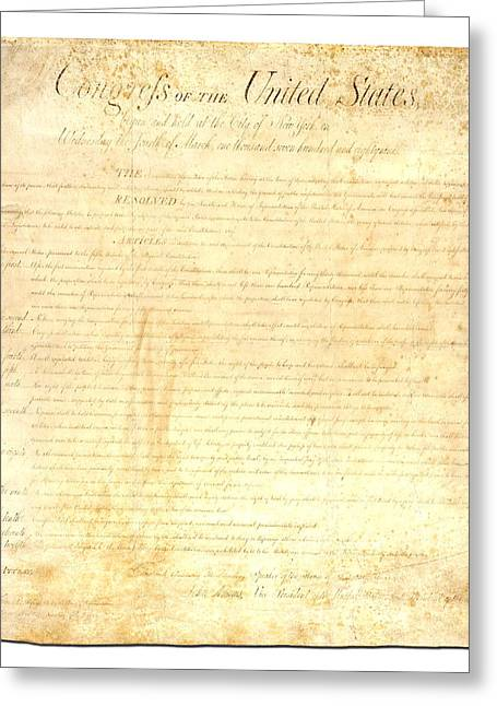 Bills Greeting Cards - Bill of Rights Greeting Card by Ron Hedges