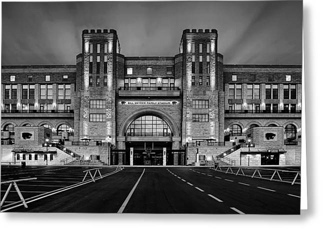 Parking Greeting Cards - Bill Snyder Family Stadium - BW Greeting Card by Thomas Zimmerman